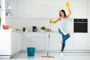 spring cleaning in kitchen